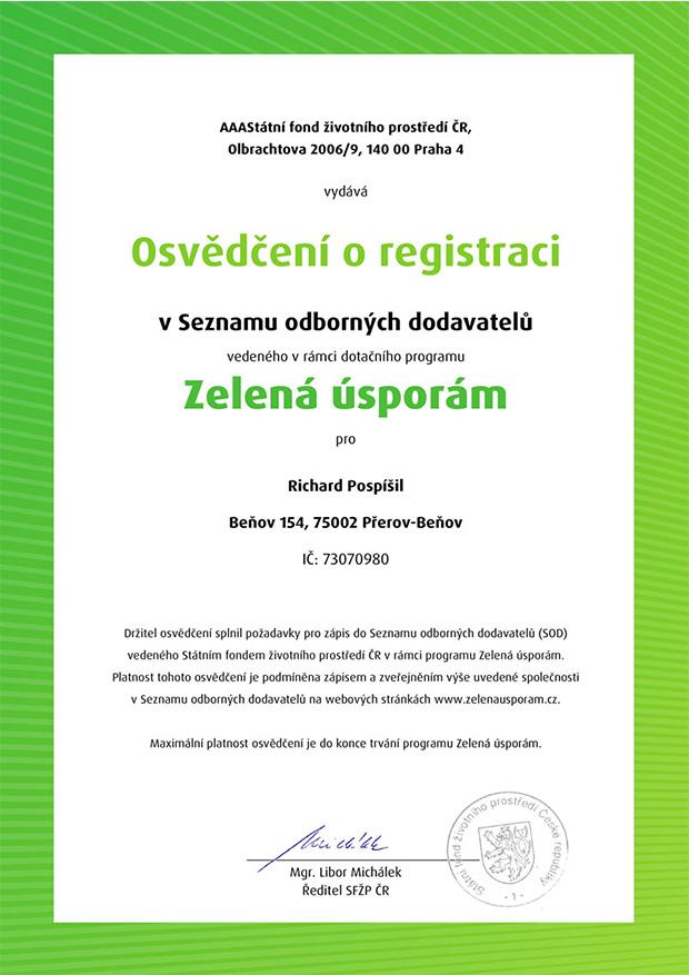 Osvědčení o registraci Zelená úsporám